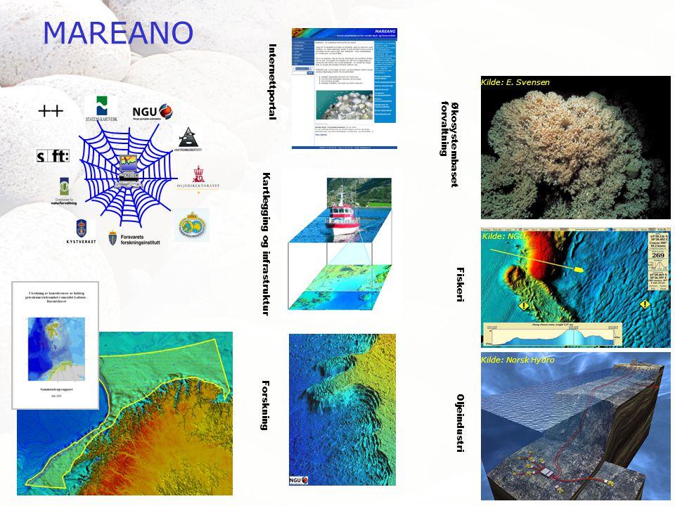MAREANO Internettportal Forskning Kartlegging og infrastruktur Økosystembasetforvaltning Fiskeri Oljeindustri Kilde: E.