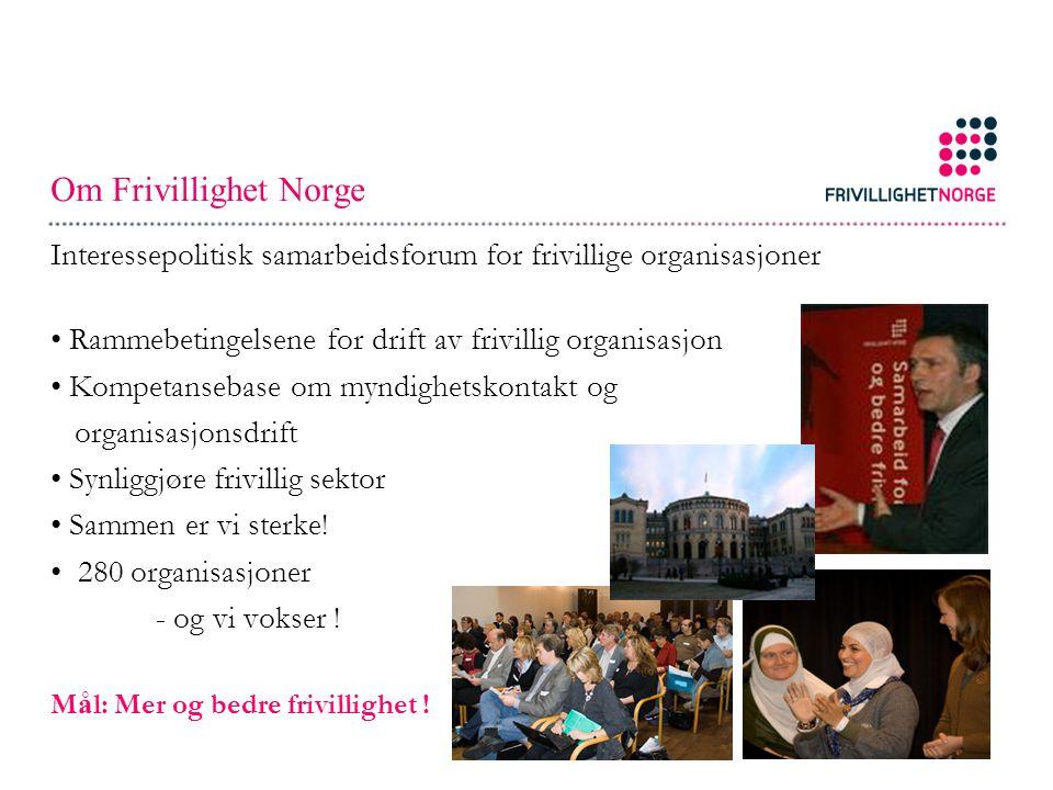 Om Frivillighet Norge Interessepolitisk samarbeidsforum for frivillige organisasjoner Rammebetingelsene for drift av frivillig organisasjon Kompetansebase om myndighetskontakt og organisasjonsdrift Synliggjøre frivillig sektor Sammen er vi sterke.