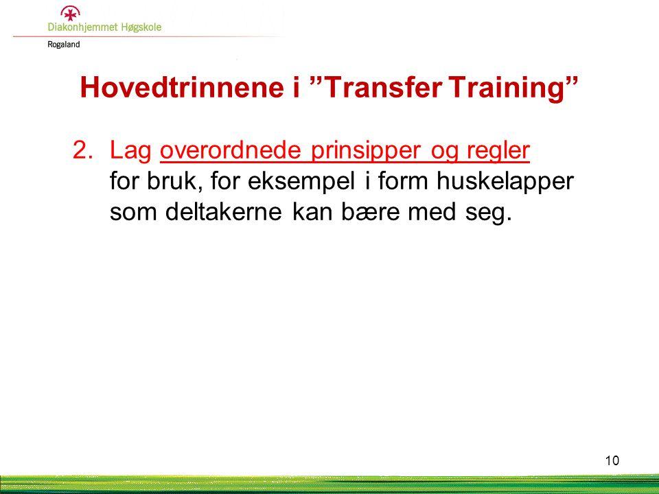 """Hovedtrinnene i """"Transfer Training"""" 2.Lag overordnede prinsipper og regler for bruk, for eksempel i form huskelapper som deltakerne kan bære med seg."""