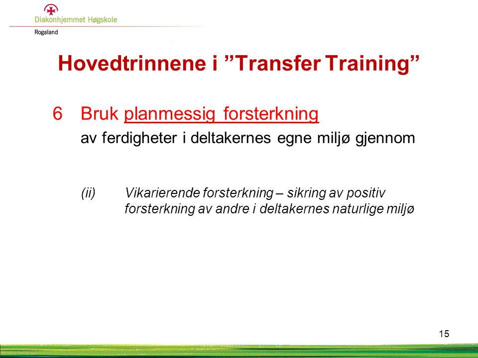 """Hovedtrinnene i """"Transfer Training"""" 6Bruk planmessig forsterkning av ferdigheter i deltakernes egne miljø gjennom (ii) Vikarierende forsterkning – sik"""