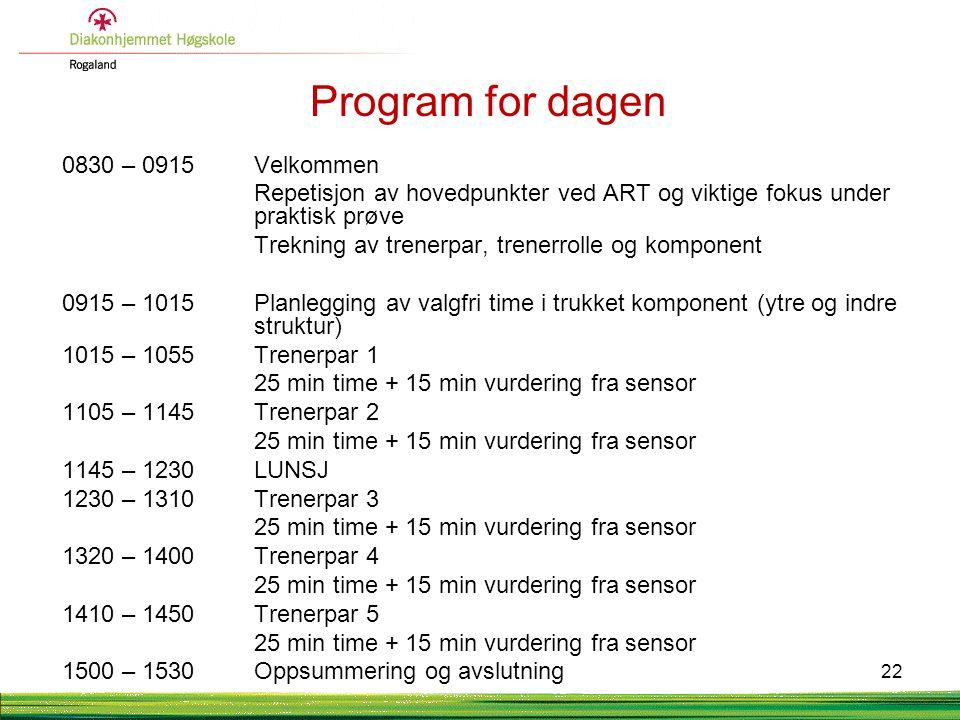 Program for dagen 0830 – 0915 Velkommen Repetisjon av hovedpunkter ved ART og viktige fokus under praktisk prøve Trekning av trenerpar, trenerrolle og