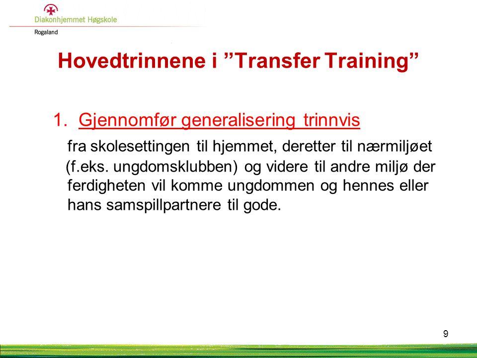 """Hovedtrinnene i """"Transfer Training"""" 1. Gjennomfør generalisering trinnvis fra skolesettingen til hjemmet, deretter til nærmiljøet (f.eks. ungdomsklubb"""