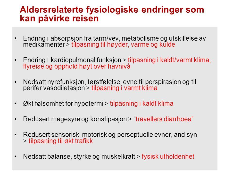 Eksisterende (kronisk) sykdom under reise Sverre Kjølstad, Europeiske Eksisterende sykdom (2001) Hjertesykdom16,7 % Lungebetennelse13,9 % Astma 8,3 % Muskel skjelett11,1 % Ulykker 9,7 % gjelder dog et begrenset antall tilstander som er vell definerte og som god kommunikasjon med behandlende lege lar seg forebygge