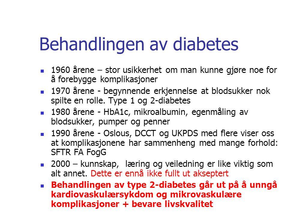 Behandlingen av diabetes 1960 årene – stor usikkerhet om man kunne gjøre noe for å forebygge komplikasjoner 1970 årene - begynnende erkjennelse at blo