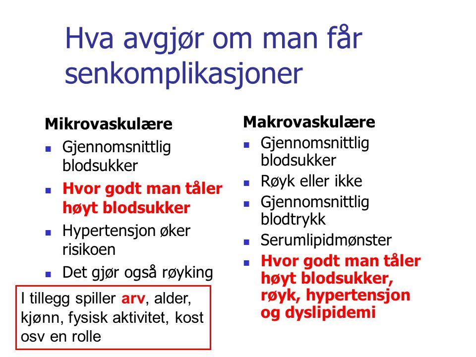 Hva avgjør om man får senkomplikasjoner Mikrovaskulære Gjennomsnittlig blodsukker Hvor godt man tåler høyt blodsukker Hypertensjon øker risikoen Det g