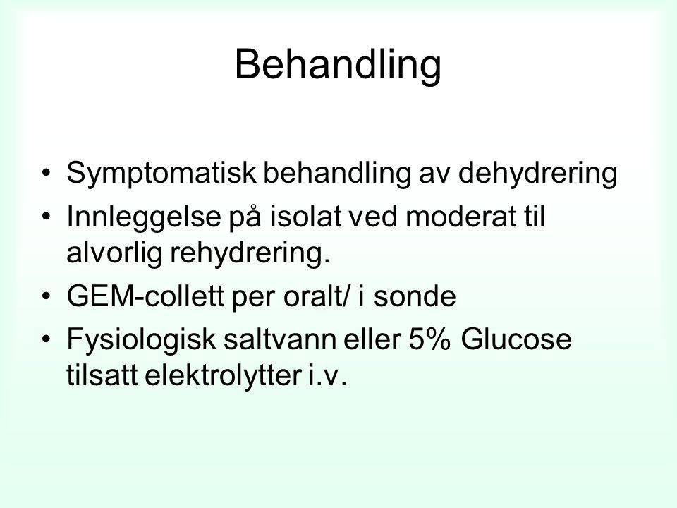 Behandling Symptomatisk behandling av dehydrering Innleggelse på isolat ved moderat til alvorlig rehydrering.