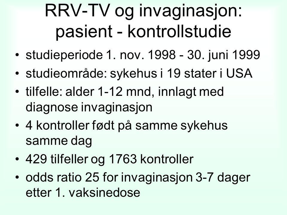 RRV-TV og invaginasjon: pasient - kontrollstudie studieperiode 1. nov. 1998 - 30. juni 1999 studieområde: sykehus i 19 stater i USA tilfelle: alder 1-