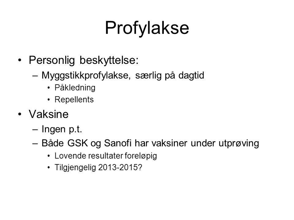 Profylakse Personlig beskyttelse: –Myggstikkprofylakse, særlig på dagtid Påkledning Repellents Vaksine –Ingen p.t. –Både GSK og Sanofi har vaksiner un
