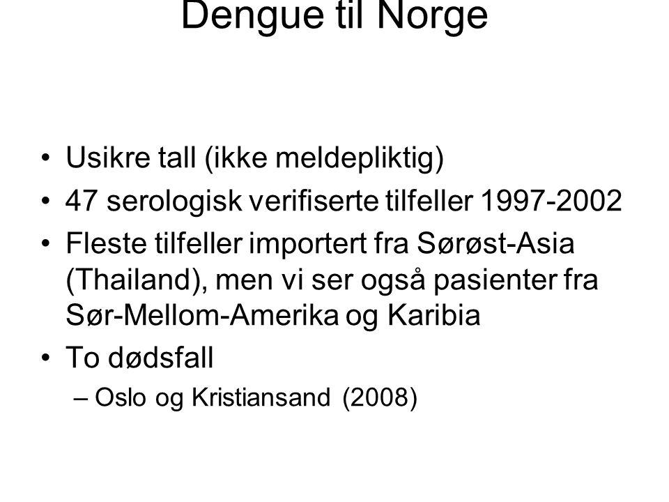 Dengue til Norge Usikre tall (ikke meldepliktig) 47 serologisk verifiserte tilfeller 1997-2002 Fleste tilfeller importert fra Sørøst-Asia (Thailand),