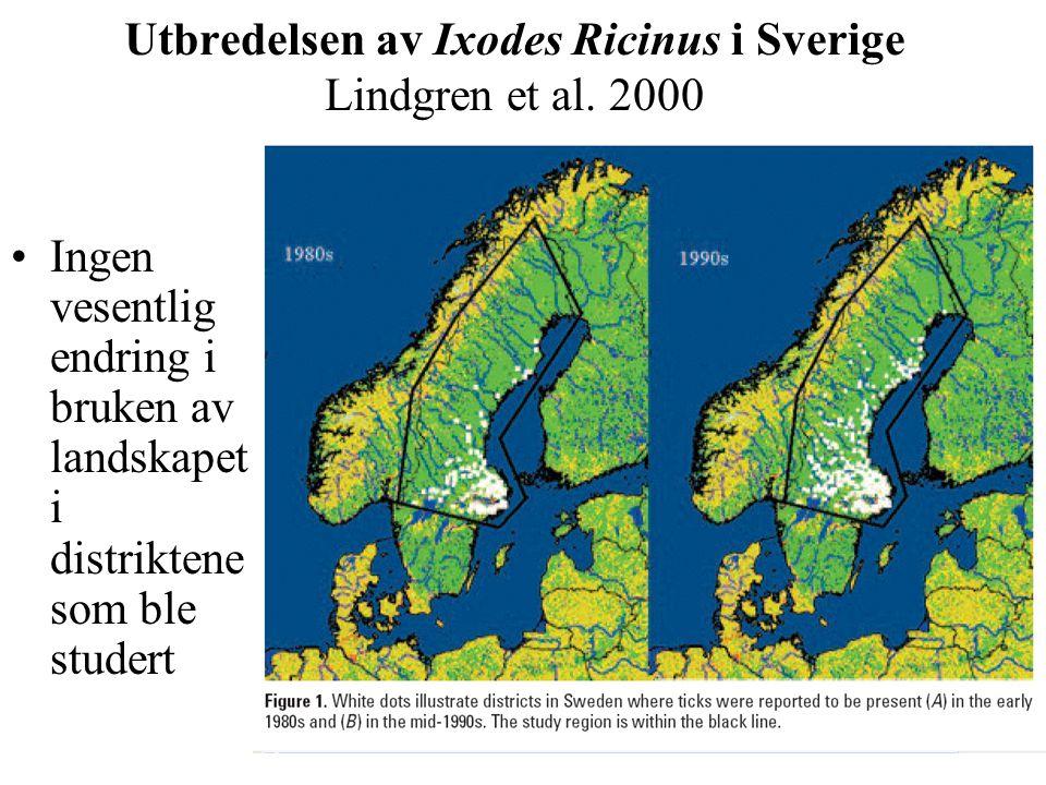 Utbredelsen av Ixodes Ricinus i Sverige Lindgren et al. 2000 Ingen vesentlig endring i bruken av landskapet i distriktene som ble studert