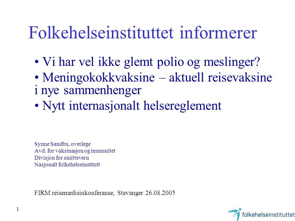 32 Kikhostevaksinasjon i Norge DTP innført i 1952 –hovedmålgruppe: barn under 2 år –firedosersprogram til 1984 –helcellevaksine til og med 1997 acellulær kikhostevaksine fra 1998 –kombinert difteri, tetanus, kikhoste, polio og Hib-vaksine –3 doser ved 3, 5 og 12 mndr