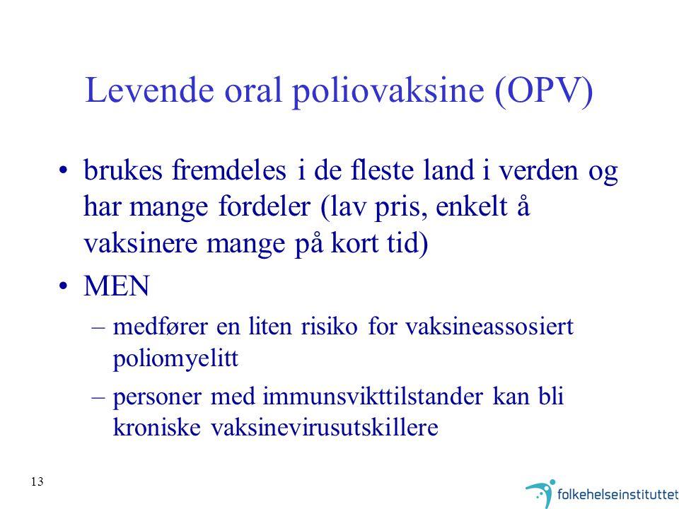 13 Levende oral poliovaksine (OPV) brukes fremdeles i de fleste land i verden og har mange fordeler (lav pris, enkelt å vaksinere mange på kort tid) MEN –medfører en liten risiko for vaksineassosiert poliomyelitt –personer med immunsvikttilstander kan bli kroniske vaksinevirusutskillere