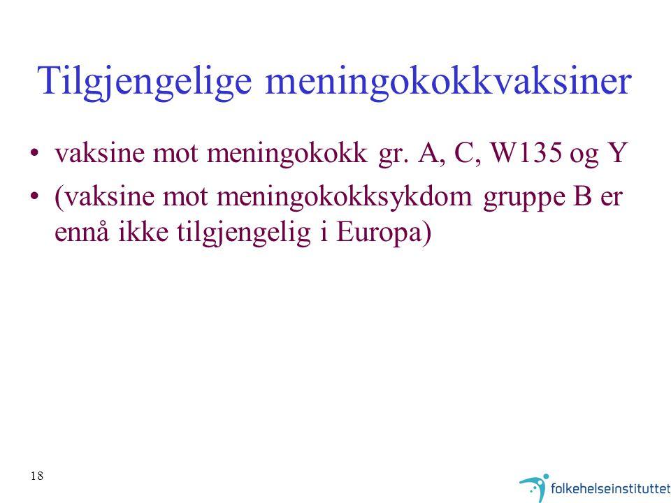 18 Tilgjengelige meningokokkvaksiner vaksine mot meningokokk gr.