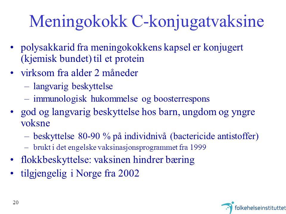 20 Meningokokk C-konjugatvaksine polysakkarid fra meningokokkens kapsel er konjugert (kjemisk bundet) til et protein virksom fra alder 2 måneder –langvarig beskyttelse –immunologisk hukommelse og boosterrespons god og langvarig beskyttelse hos barn, ungdom og yngre voksne –beskyttelse 80-90 % på individnivå (bactericide antistoffer) –brukt i det engelske vaksinasjonsprogrammet fra 1999 flokkbeskyttelse: vaksinen hindrer bæring tilgjengelig i Norge fra 2002