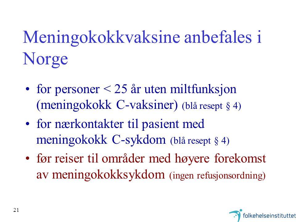 21 Meningokokkvaksine anbefales i Norge for personer < 25 år uten miltfunksjon (meningokokk C-vaksiner) (blå resept § 4) for nærkontakter til pasient med meningokokk C-sykdom (blå resept § 4) før reiser til områder med høyere forekomst av meningokokksykdom (ingen refusjonsordning)