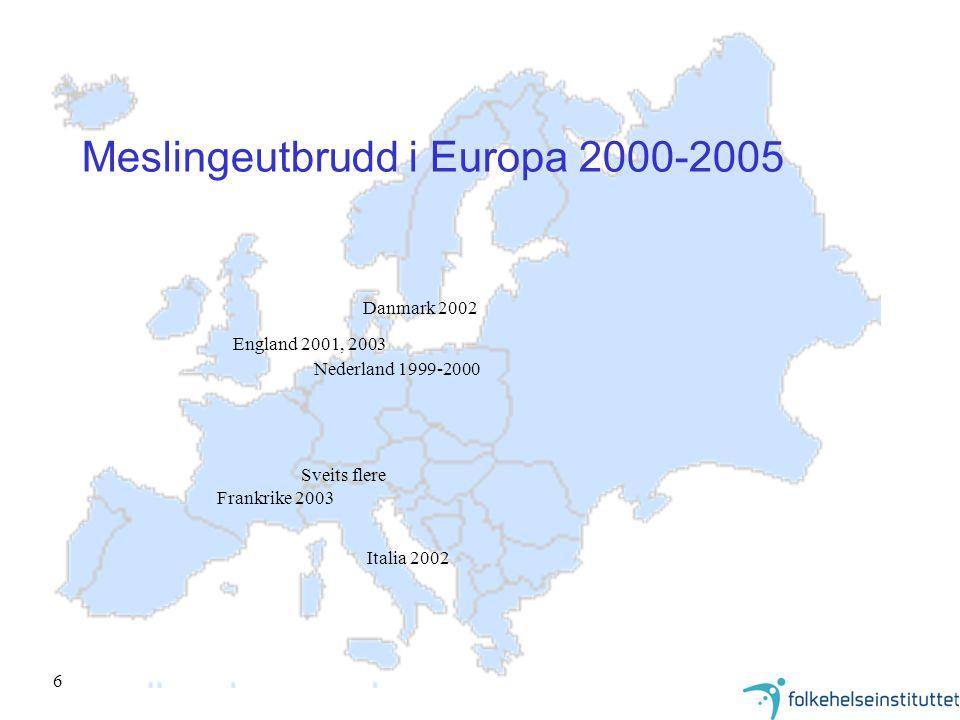 7 Meslinger i Europa - lokale utbrudd i befolkningsgrupper med lav vaksinasjonsdekning Nederland 1999: 2 300 tilfelle - 3 døde –(Eurosurveillance Weekly, 6 Jan 2000) Irland 2000: 1 200 tilfelle - 2 døde –(Eurosurveillance Weekly, 27 July 2000) Italia 2002: 1 500 tilfelle - 4 døde 24 000 tilfelle beregnet, 594 hospitalisert, 13 encefalitt.