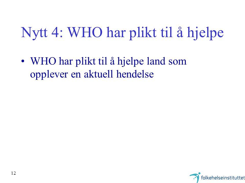 12 Nytt 4: WHO har plikt til å hjelpe WHO har plikt til å hjelpe land som opplever en aktuell hendelse