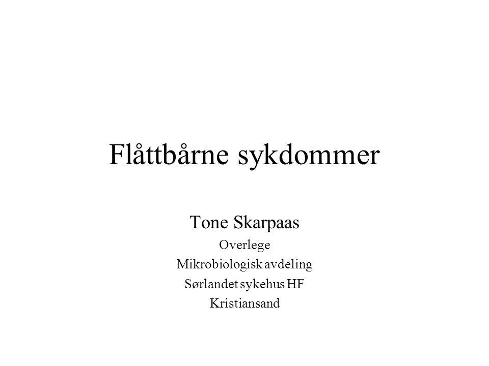 Flåttbårne sykdommer Tone Skarpaas Overlege Mikrobiologisk avdeling Sørlandet sykehus HF Kristiansand
