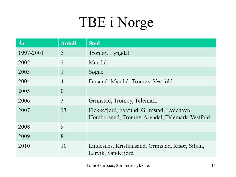 TBE i Norge ÅrAntallSted 1997-20015Tromøy, Lyngdal 20022Mandal 20031Søgne 20044Farsund, Mandal, Tromøy, Vestfold 20050 20063Grimstad, Tromøy, Telemark