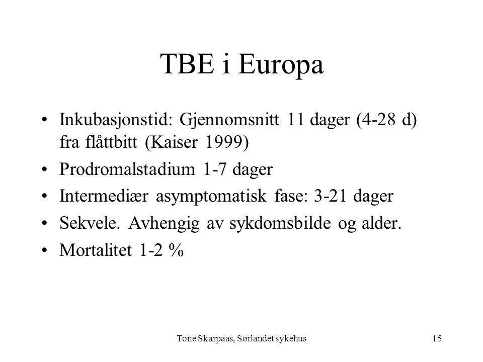 TBE i Europa Inkubasjonstid: Gjennomsnitt 11 dager (4-28 d) fra flåttbitt (Kaiser 1999) Prodromalstadium 1-7 dager Intermediær asymptomatisk fase: 3-2