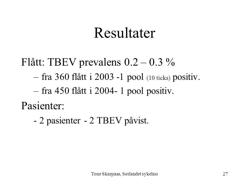 Tone Skarpaas, Sørlandet sykehus Resultater Flått: TBEV prevalens 0.2 – 0.3 % –fra 360 flått i 2003 -1 pool (10 ticks) positiv. –fra 450 flått i 2004-