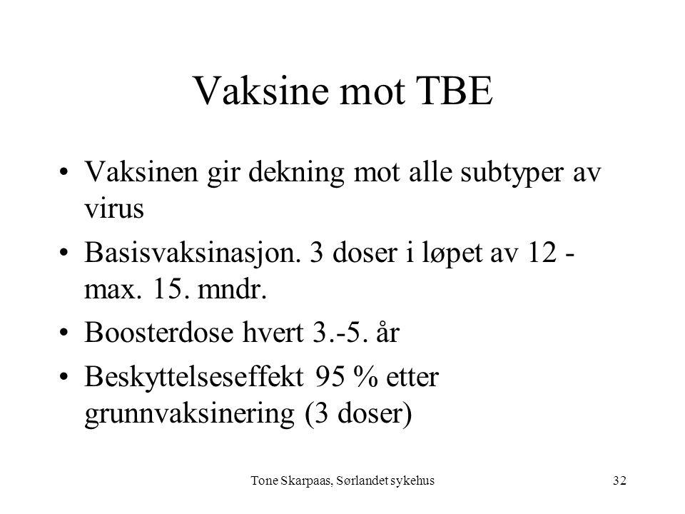 Vaksine mot TBE Vaksinen gir dekning mot alle subtyper av virus Basisvaksinasjon. 3 doser i løpet av 12 - max. 15. mndr. Boosterdose hvert 3.-5. år Be