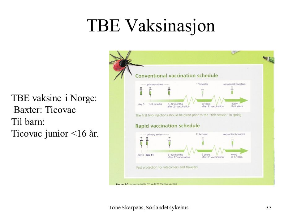 TBE Vaksinasjon Tone Skarpaas, Sørlandet sykehus TBE vaksine i Norge: Baxter: Ticovac Til barn: Ticovac junior <16 år. 33
