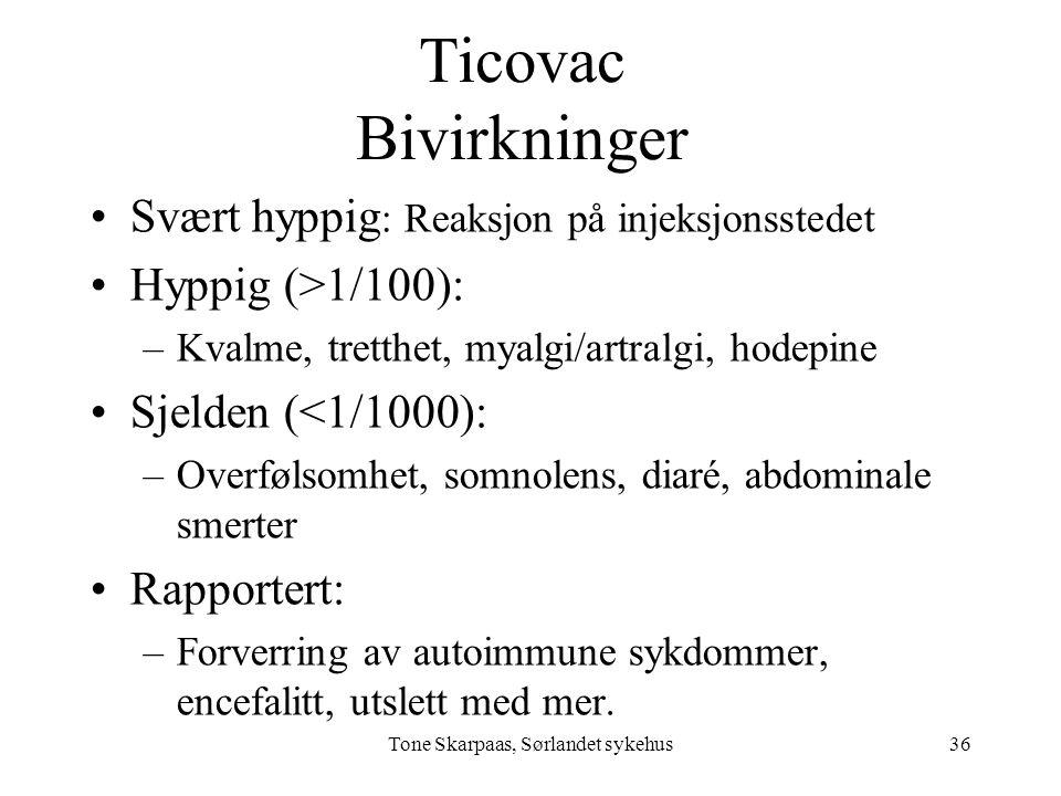 Ticovac Bivirkninger Svært hyppig : Reaksjon på injeksjonsstedet Hyppig (>1/100): –Kvalme, tretthet, myalgi/artralgi, hodepine Sjelden (<1/1000): –Ove