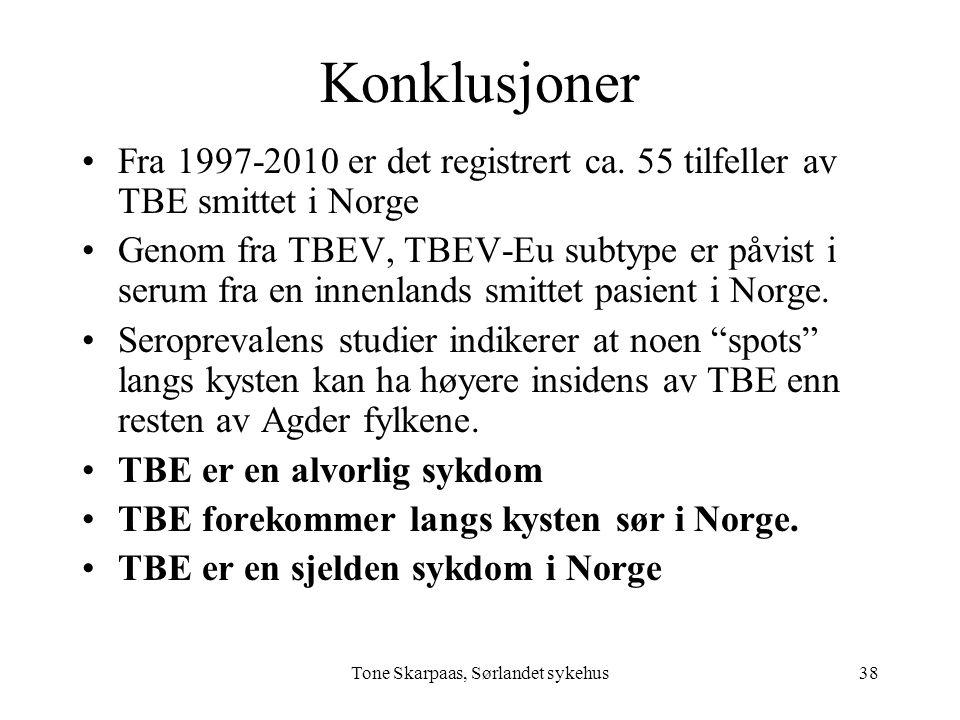 Tone Skarpaas, Sørlandet sykehus Konklusjoner Fra 1997-2010 er det registrert ca. 55 tilfeller av TBE smittet i Norge Genom fra TBEV, TBEV-Eu subtype