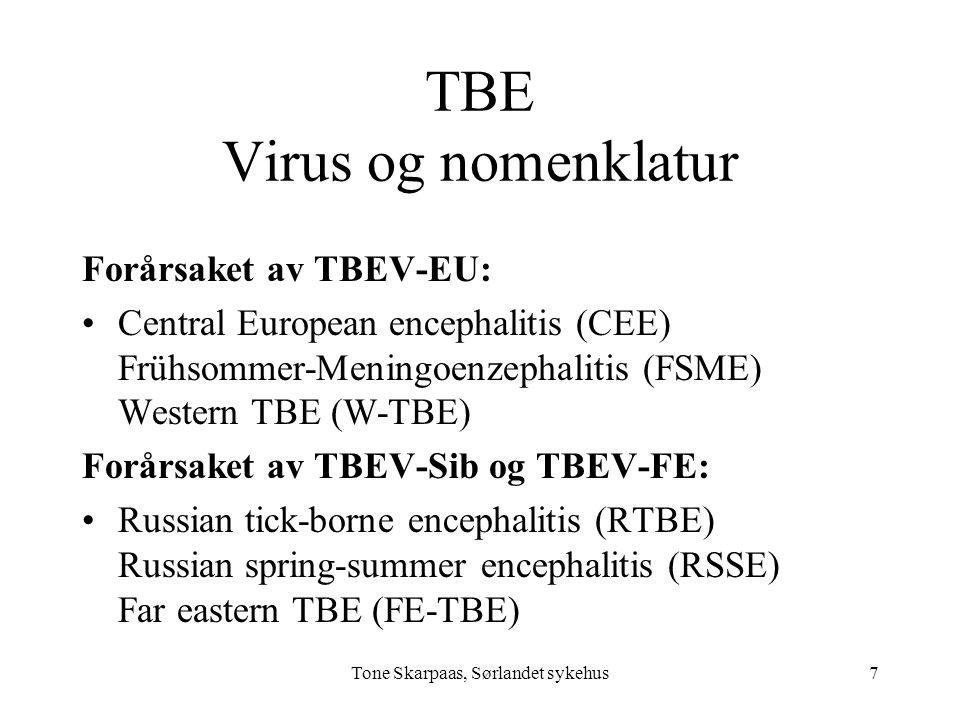 Tone Skarpaas, Sørlandet sykehus TBE Virus og nomenklatur Forårsaket av TBEV-EU: Central European encephalitis (CEE) Frühsommer-Meningoenzephalitis (F