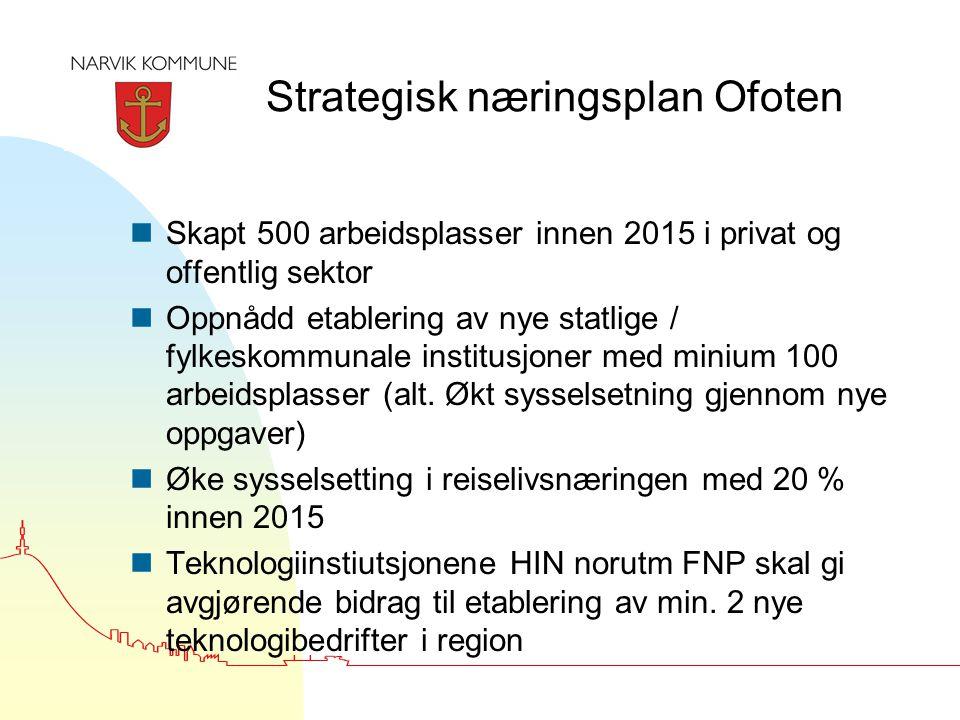 Strategisk næringsplan Ofoten nSkapt 500 arbeidsplasser innen 2015 i privat og offentlig sektor nOppnådd etablering av nye statlige / fylkeskommunale