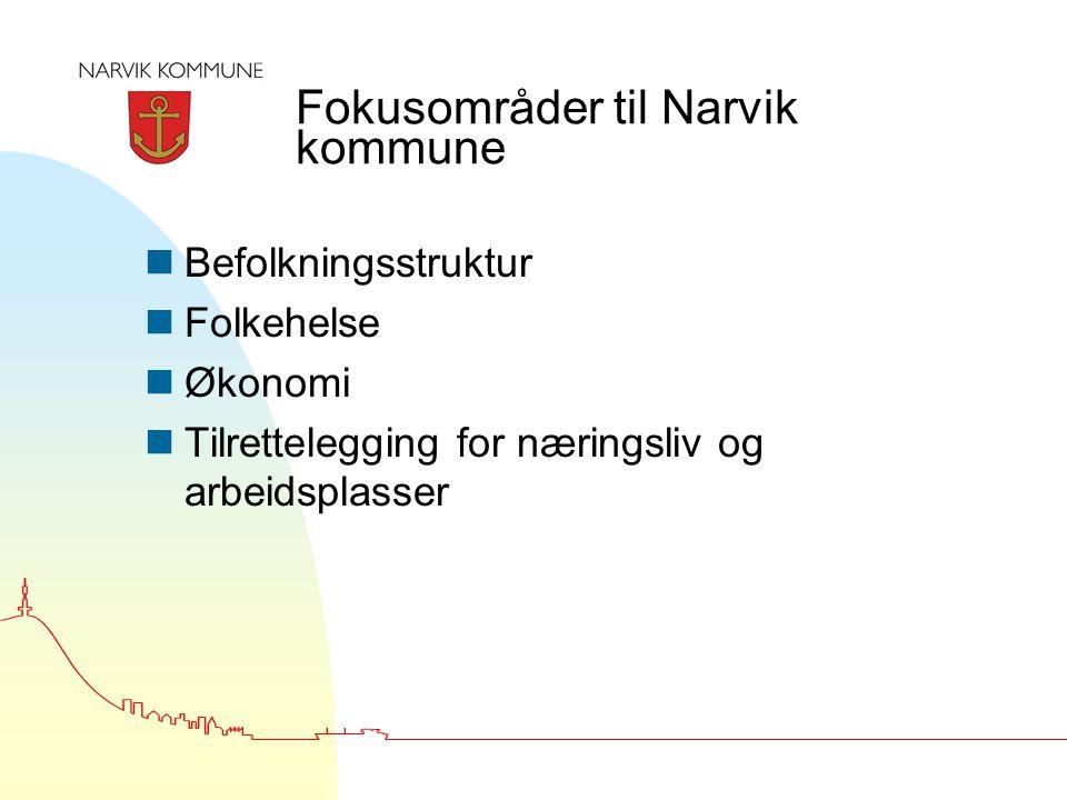 Fokusområder til Narvik kommune nBefolkningsstruktur nFolkehelse nØkonomi nTilrettelegging for næringsliv og arbeidsplasser