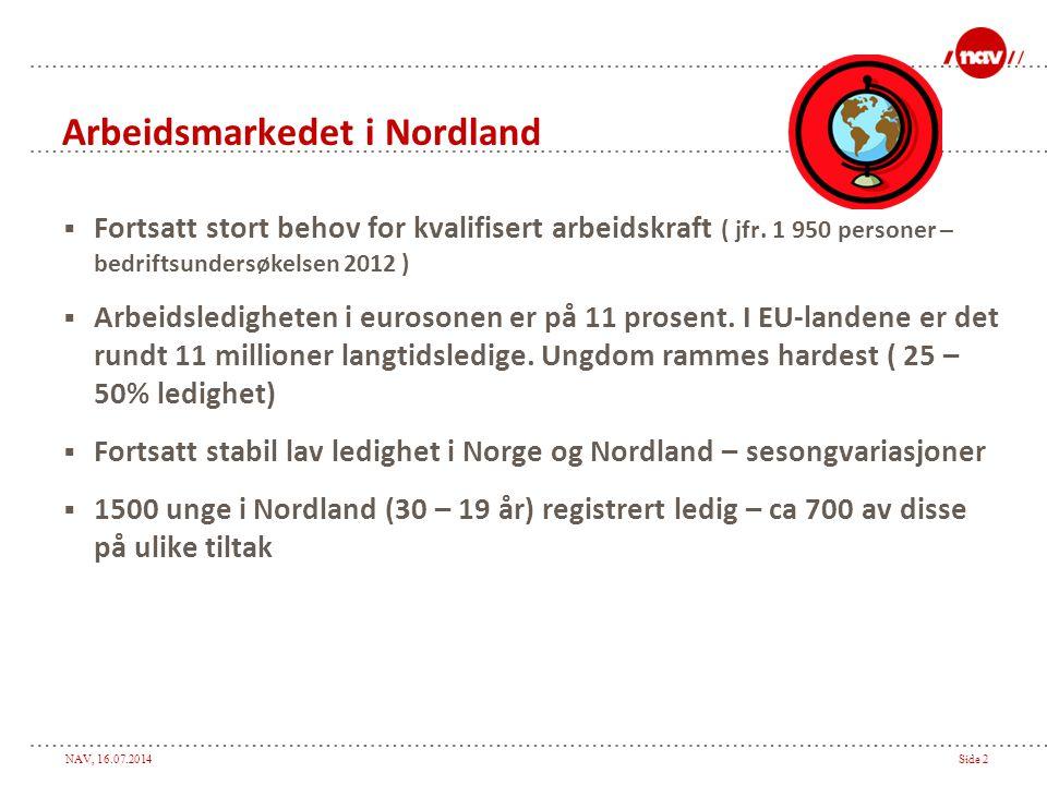 NAV, 16.07.2014Side 2 Arbeidsmarkedet i Nordland  Fortsatt stort behov for kvalifisert arbeidskraft ( jfr.