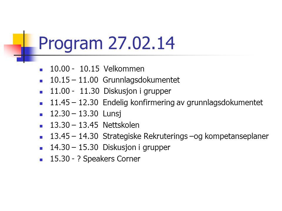 28.02.14 09.00 – 09.15 God morgen 09.15 – 11.00 Arbeid i regionale Nordlandsløftgrupper 11.00 – 11.20 Kaffe og utsjekking 11.20 – 12.00 Avrunding.