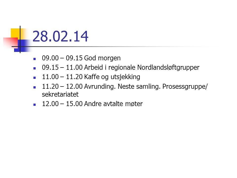 28.02.14 09.00 – 09.15 God morgen 09.15 – 11.00 Arbeid i regionale Nordlandsløftgrupper 11.00 – 11.20 Kaffe og utsjekking 11.20 – 12.00 Avrunding. Nes