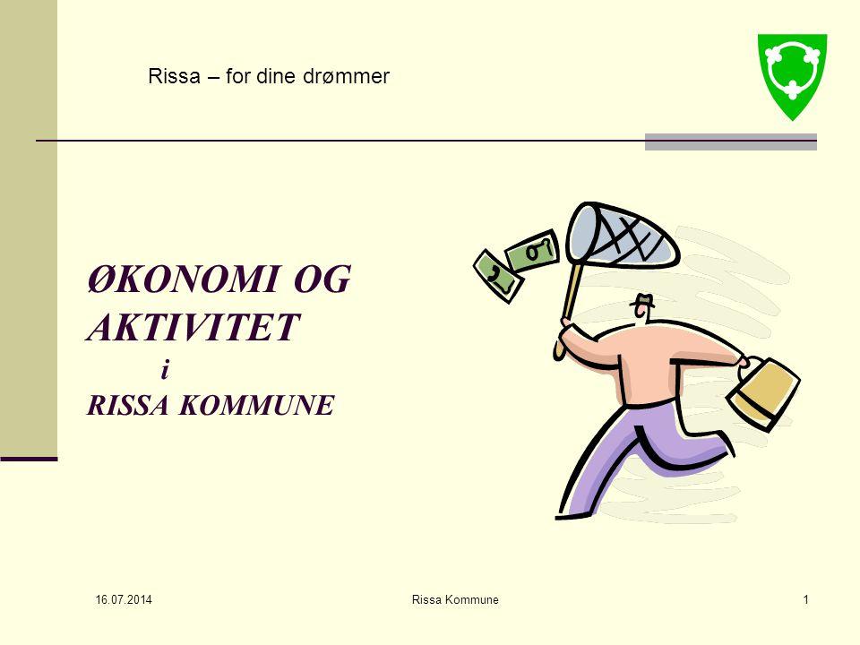 16.07.2014 Rissa Kommune1 ØKONOMI OG AKTIVITET i RISSA KOMMUNE Rissa – for dine drømmer