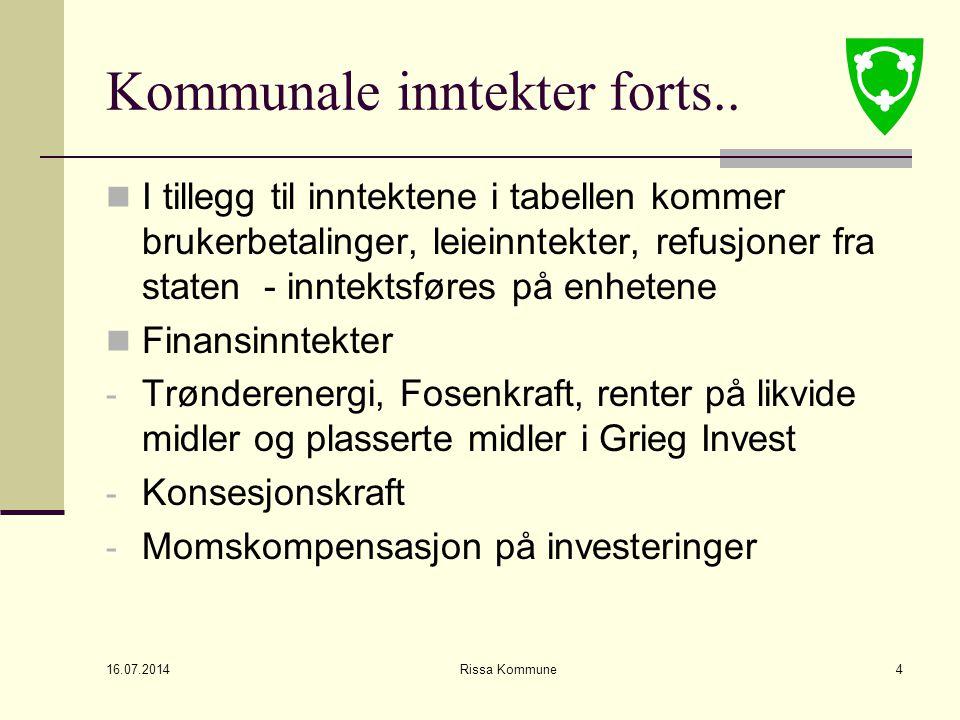 16.07.2014 Rissa Kommune4 Kommunale inntekter forts..