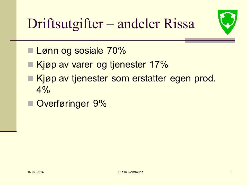 16.07.2014 Rissa Kommune6 Driftsutgifter – andeler Rissa Lønn og sosiale 70% Kjøp av varer og tjenester 17% Kjøp av tjenester som erstatter egen prod.