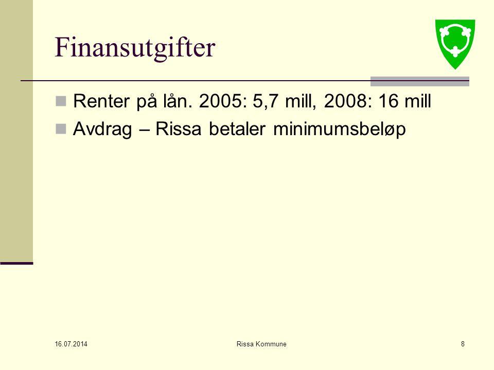 16.07.2014 Rissa Kommune8 Finansutgifter Renter på lån.