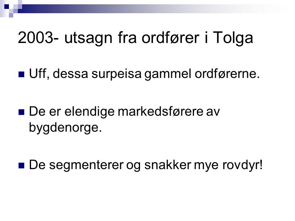 2003- utsagn fra ordfører i Tolga Uff, dessa surpeisa gammel ordførerne. De er elendige markedsførere av bygdenorge. De segmenterer og snakker mye rov