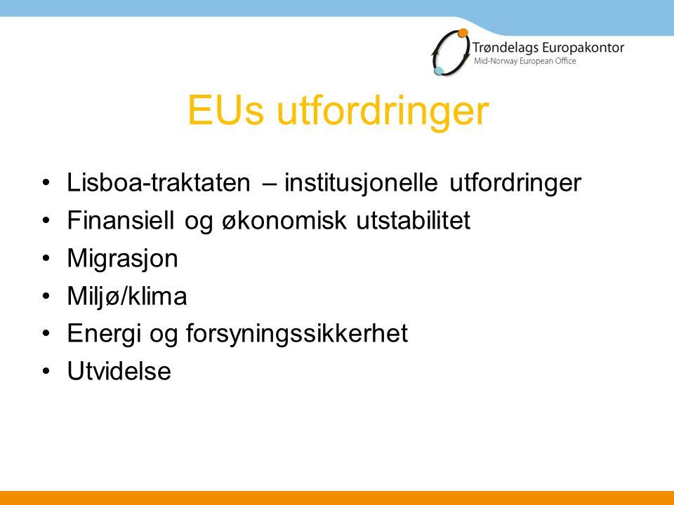 EUs utfordringer Lisboa-traktaten – institusjonelle utfordringer Finansiell og økonomisk utstabilitet Migrasjon Miljø/klima Energi og forsyningssikkerhet Utvidelse