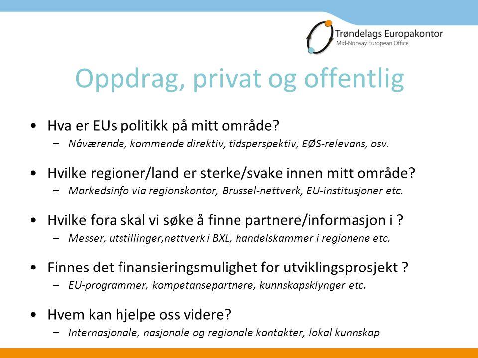 Oppdrag, privat og offentlig Hva er EUs politikk på mitt område.