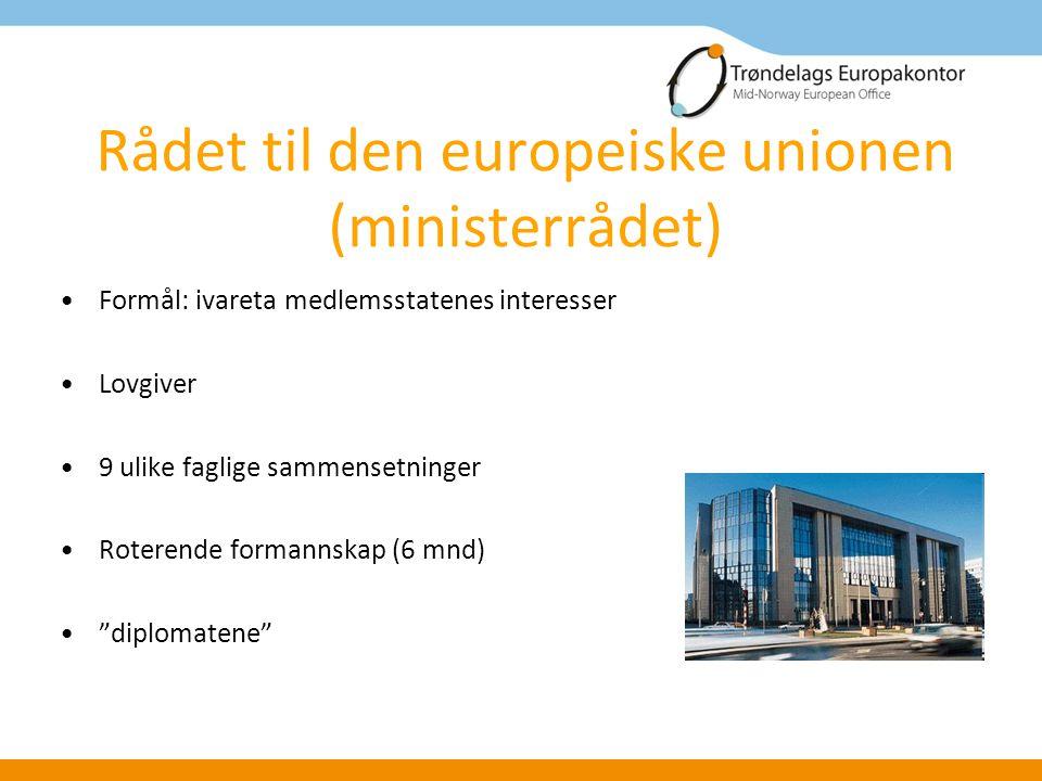 Rådet til den europeiske unionen (ministerrådet) Formål: ivareta medlemsstatenes interesser Lovgiver 9 ulike faglige sammensetninger Roterende formannskap (6 mnd) diplomatene