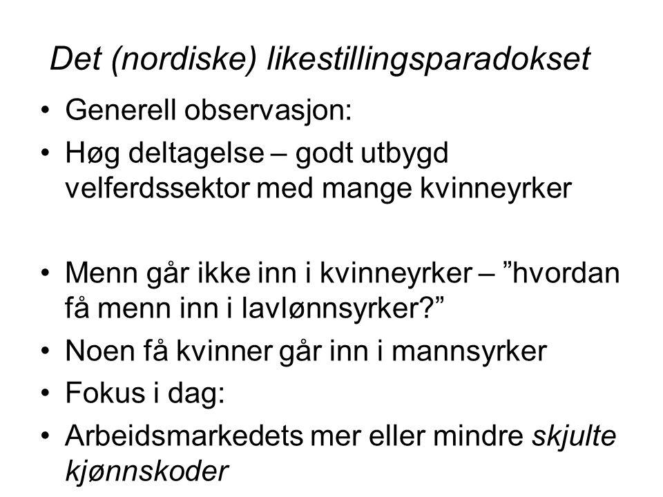 Det (nordiske) likestillingsparadokset Generell observasjon: Høg deltagelse – godt utbygd velferdssektor med mange kvinneyrker Menn går ikke inn i kvi