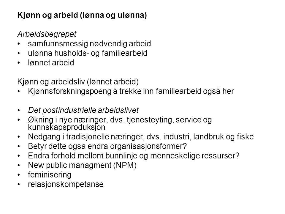 Norge har høy kvinnedeltagelse på arbeidsmarkedet, men et svært kjønnssegregert arbeidsmarked Kjønnsdelt arbeidsmarked: lønnet arbeid i ulike yrker, profesjoner eller typer jobber Vertikal klumping av henholdsvis menn og kvinner Horisontal klumping av henholdsvis menn og kvinner