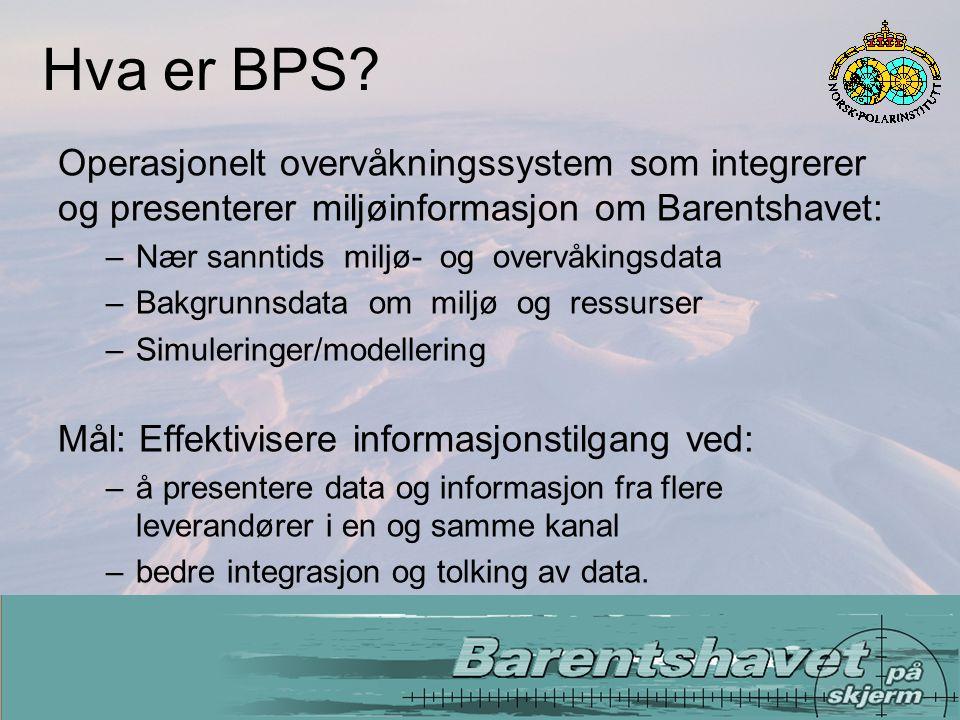 Operasjonell overvåking av miljøforhold, aktivitet og miljørisiki Data fra miljøovervåking Bakgrunnsdata om miljø og ressurser BPS er - utvikling og integrering av etablerte tjenester:
