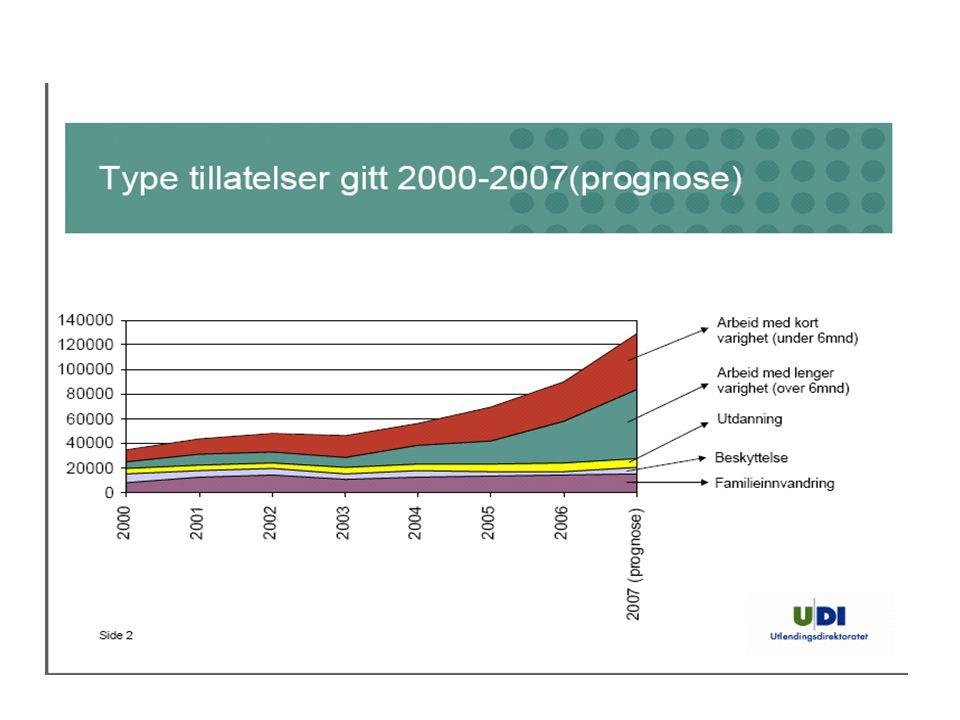 Ikke nordisk innvandring til Fredrikstad fra 2001 til 2006 etter innvandringsgrunn