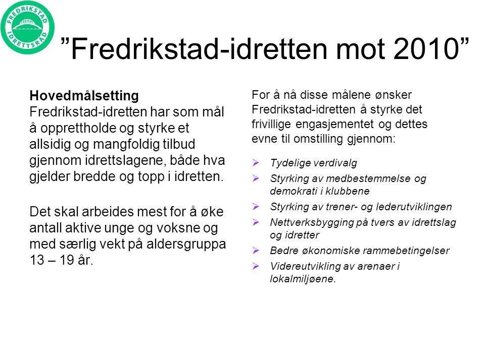 Fredrikstad-idretten mot 2010 Hovedmålsetting Fredrikstad-idretten har som mål å opprettholde og styrke et allsidig og mangfoldig tilbud gjennom idrettslagene, både hva gjelder bredde og topp i idretten.