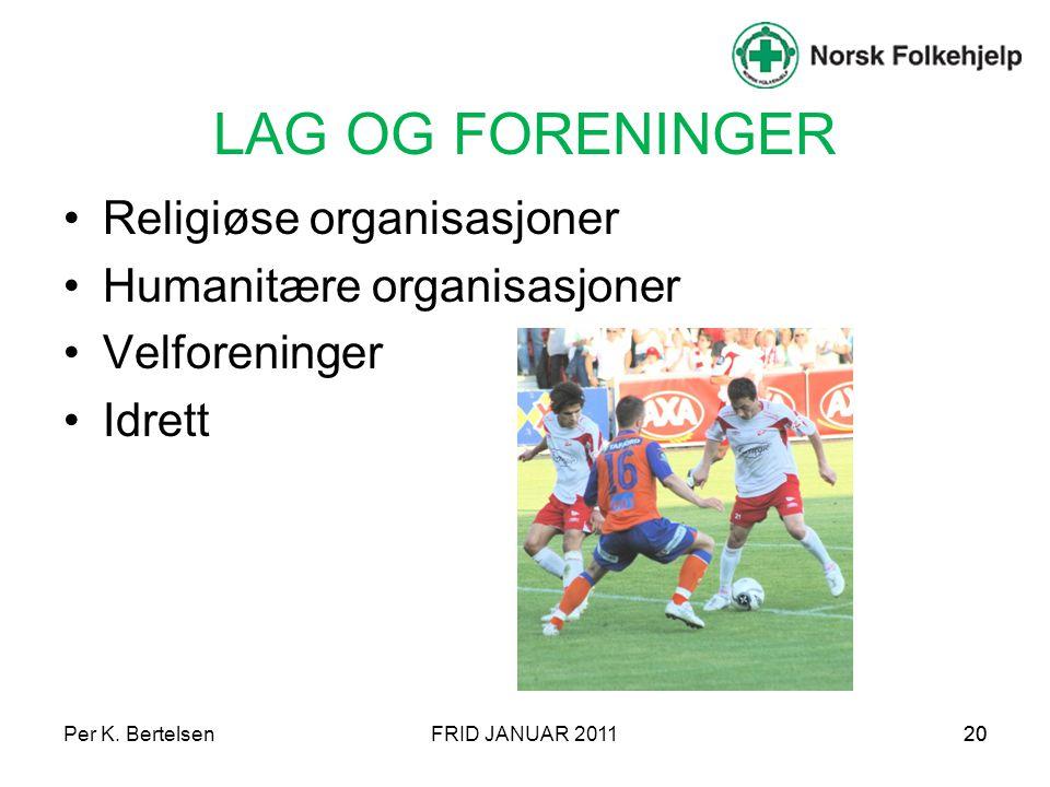 Per K. BertelsenFRID JANUAR 201120 LAG OG FORENINGER Religiøse organisasjoner Humanitære organisasjoner Velforeninger Idrett