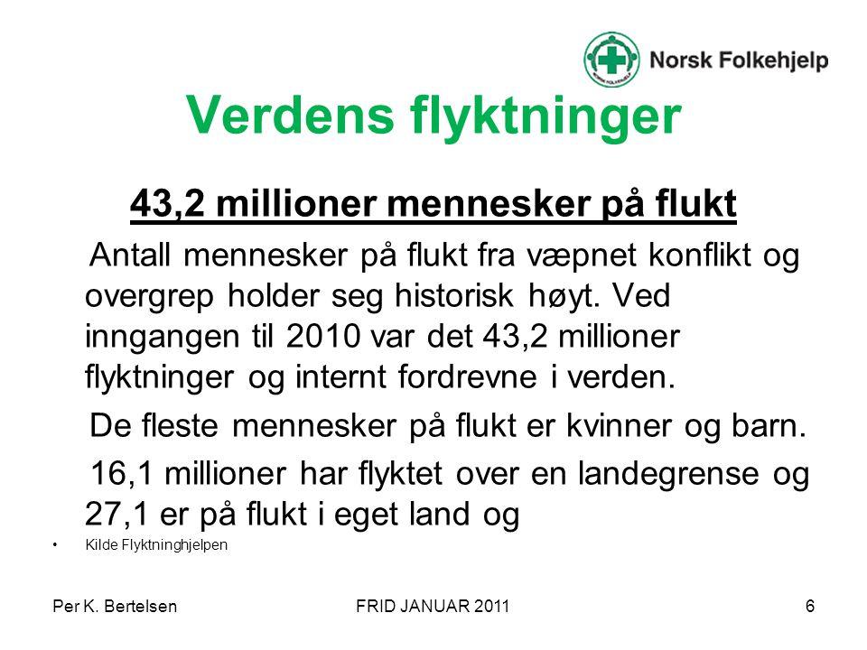 Per K. BertelsenFRID JANUAR 20117 De fleste kommer aldri til Norge